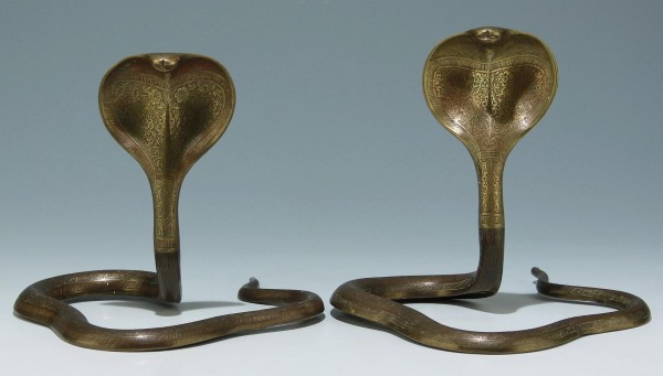 A Pair of Incised Indian Bronze and Brass Rattle Snakes