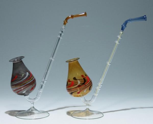 2 Lampenglas Pfeifen Lauscha 1960-80er Jahre - Höhe circa 25 cm