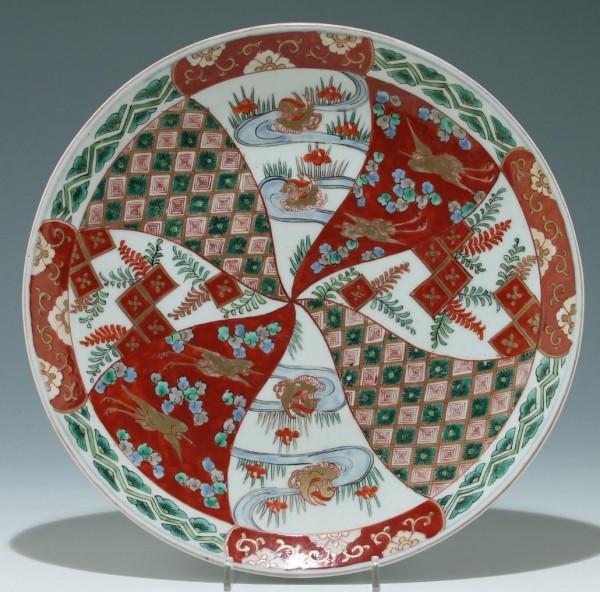 Große handbemalte Imari Schale Japan - Ø 30,7 cm