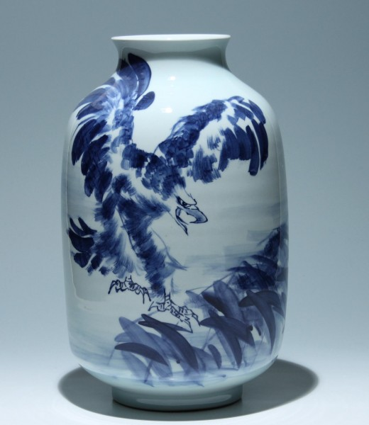Tall Japanese Blue + White Porcelain Eagle Vase