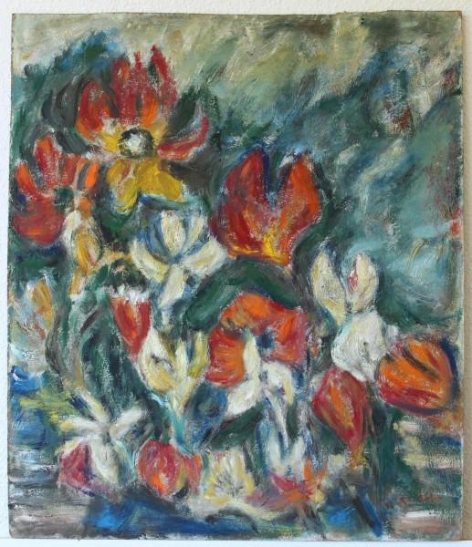 Großes Blumenstilleben 2. H. 20. Jh. - undeutlich signiert