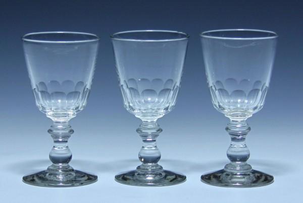 3 Portweingläser mit Schliff - 19. Jh. - 11,3 cm