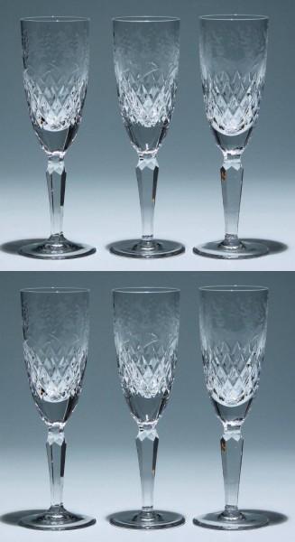 6 Bleikristall Sektflöten mit Blumenschnitt Ende 20. Jh.