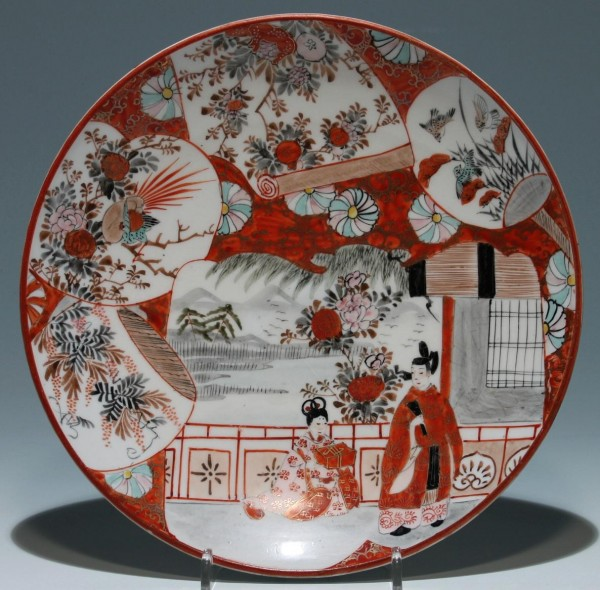 Japanese Kutani Plate with Figural Scene Ø 23 cm