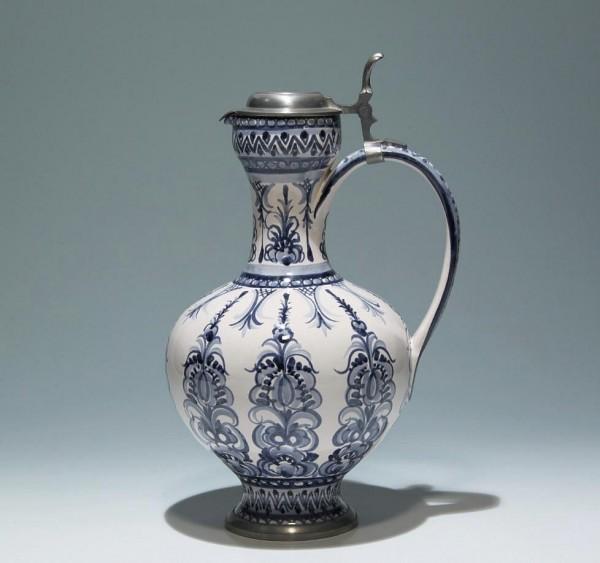 Keramik Kanne mit Zinnmontierung Anton Schreiner's Söhne