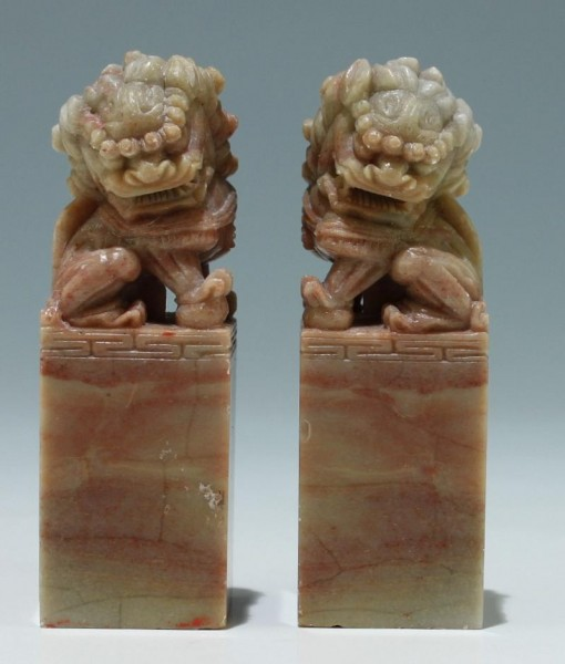 A Pair of Chinese Soapstone Foo Lions Sealstones