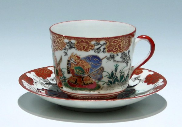 Japanese Kutani Cup and Saucer with Samurai