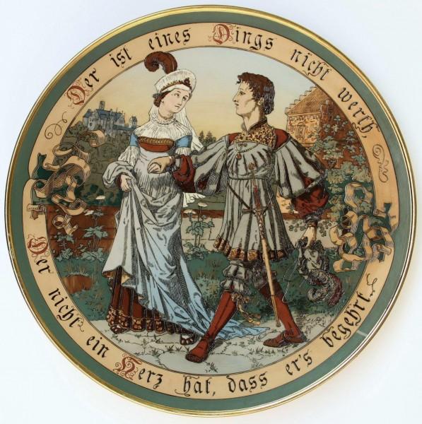 Villeroy & Boch Mettlach Wandteller 2288 signiert Quidenus - circa 1900