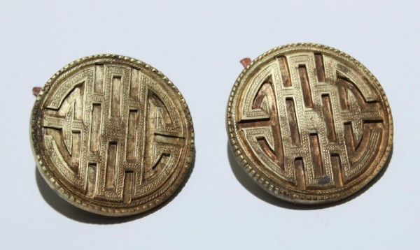 A Pair of Old Gilded Chinese Copper Buttons