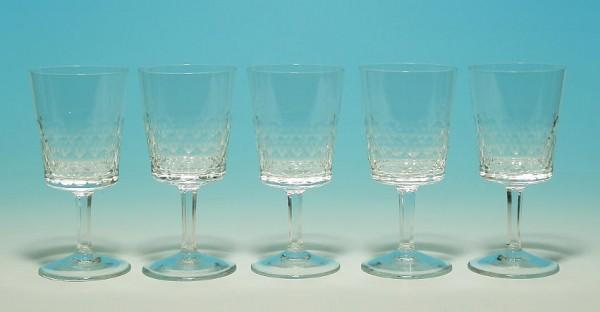 5 feine Kristall Südweingläser TIARELLA Zwiesel 1960er Jahre