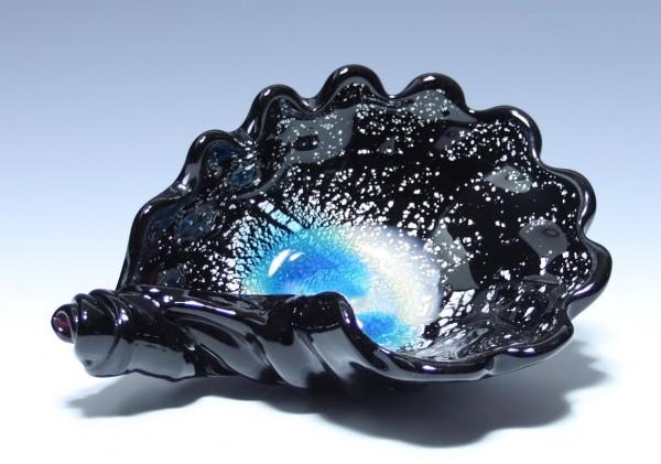 Schwarze Murano Glas Schale mit Silberfolie - Ø 22 cm