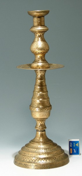 Tall Indian Brass Candlestick - 20th. C.