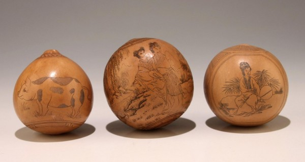 3 Antique Chinese Scrimshaw Gourds - one with Calligraphy and Pig