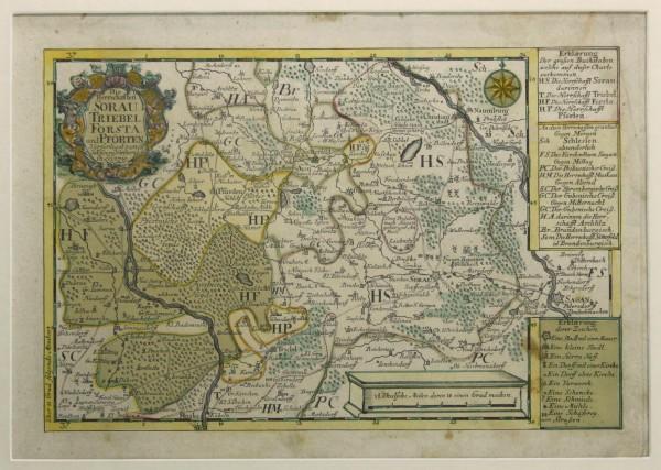 Kupferstich Karte Niederlausitz SORAU TRIEBEL FORSTA PFÖRTEN von J.G. Schreiber 1750