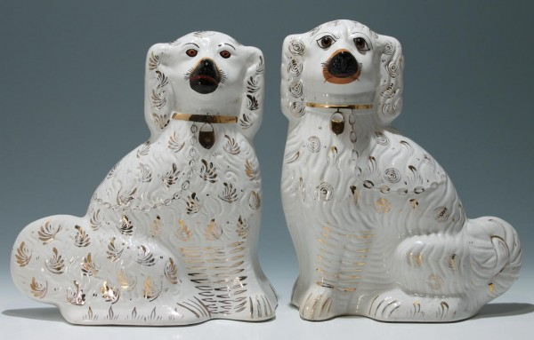 A Pair of Tall Old Staffordshire Spaniels (different) 34 cm / (13 1/2 inch)