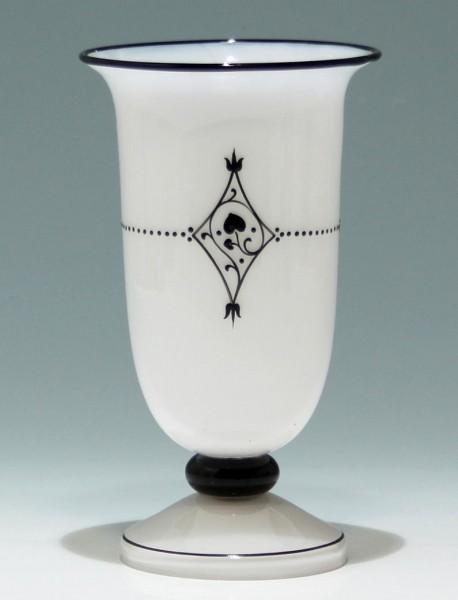 Loetz Vase mit Schwarzlotbemalung um 1915 - Höhe 18,5 cm