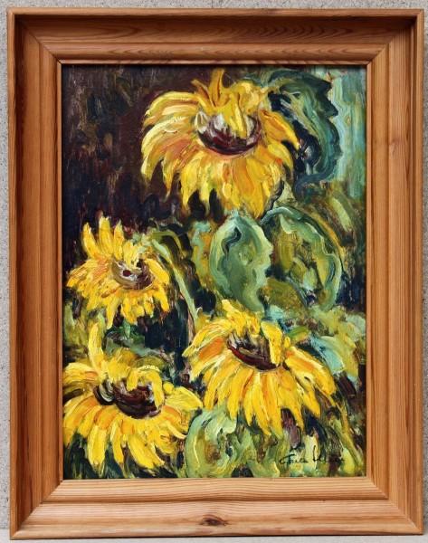 Sonnenblumen - Ölgemälde von Carla Illies – circa 1960-80er Jahre