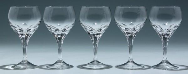 5 handgeschliffene Weingläser 1960er Jahre