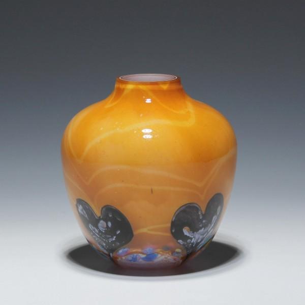 Moderne Glasvase mit Herzdekor - wohl 1980er Jahre