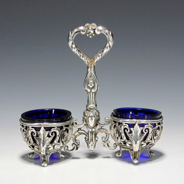 Silberne Gewürzmenage mit Minervakopfmarke - Frankreich 19. Jh.