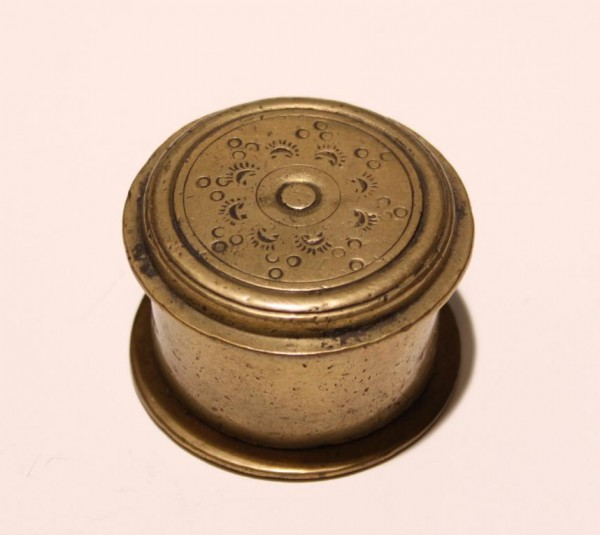 Small Incised Indian Brass Bethel Nut Paste Box