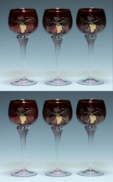 6 Bohemia Crystal Rubinglas Weingläser mit geätztem Weinlaub 1970er J. 17,7 cm-Copy