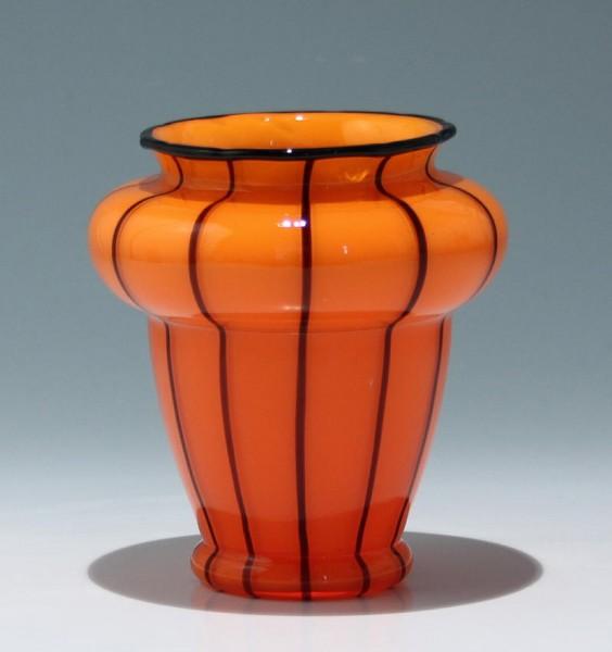 """Loetz Vase """"Orange mit schwarzen Streifen"""" 15,2 cm"""