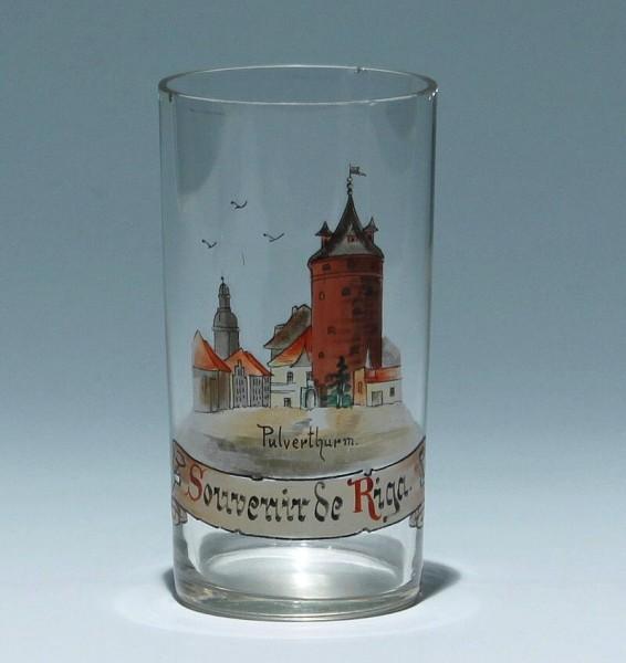 Ansichtenglas / Andenkenglas Souvenir de Riga - circa 1910