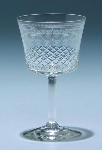 Kelchglas mit Ätzdekor und Schliff um 1900 - 10,3 cm
