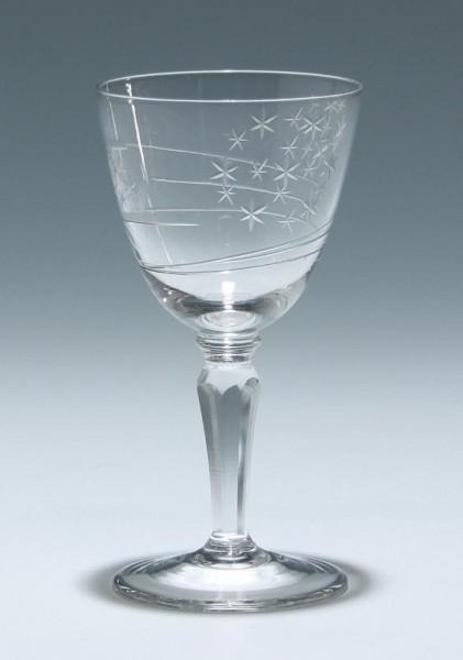 Süßweinglas mit seltenem Schliff - 1950er Jahre