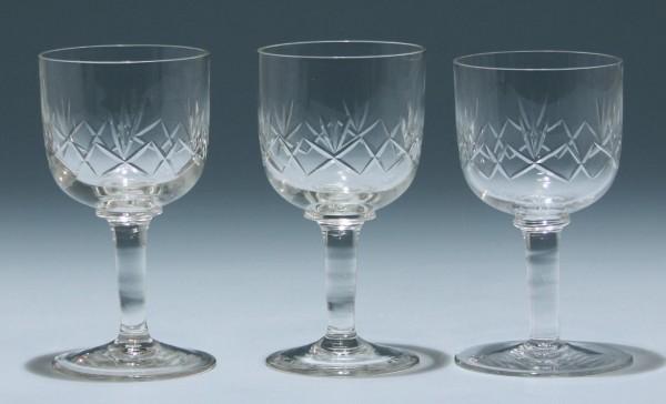 3 Weingläser mit Schliff - Anfang 20. Jh.