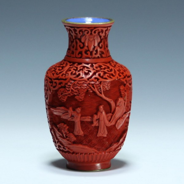 Chinese Cinnabar Lacquer Vase Scolars in Landscape - 13,2 cm