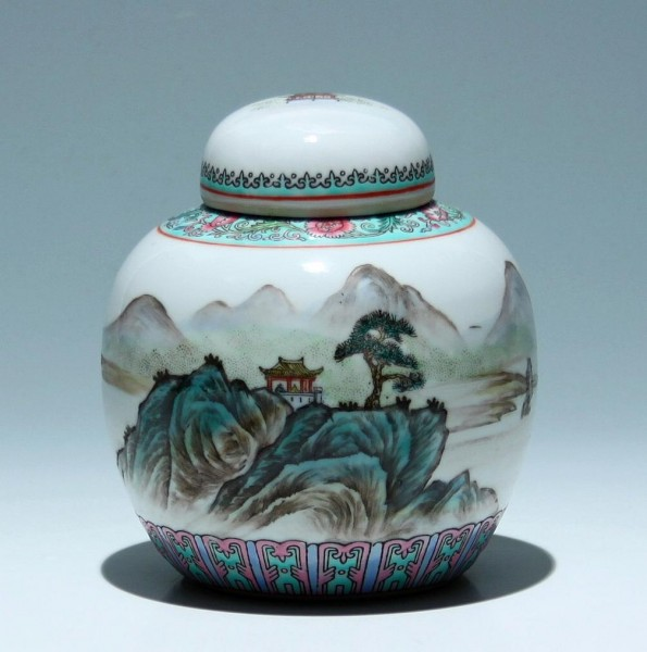 Handpainted Chinese Porcelain Ginger Jar - 2nd Half of 20th C.