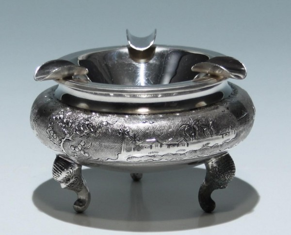 Silverplated and Incised Ashtray - Vietnam 20th. C.