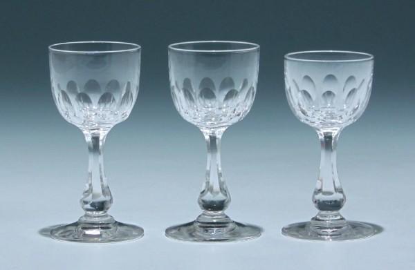 3 Bleikristall Likörgläser Frankreich circa 1900