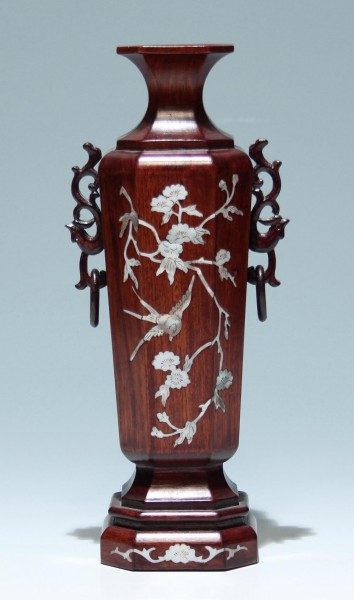 Chinese Inlaid Mother of Pearl Wooden Vase