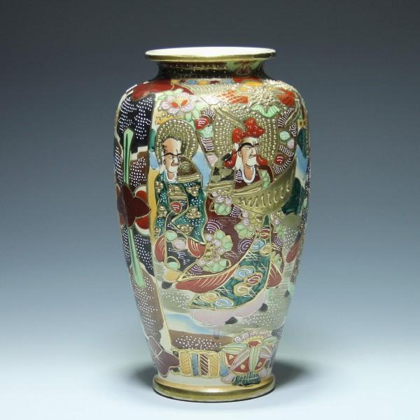Handbemalte Keramikvase SATSUMA Japan 2. H. 20. Jh. - 31,5 cm