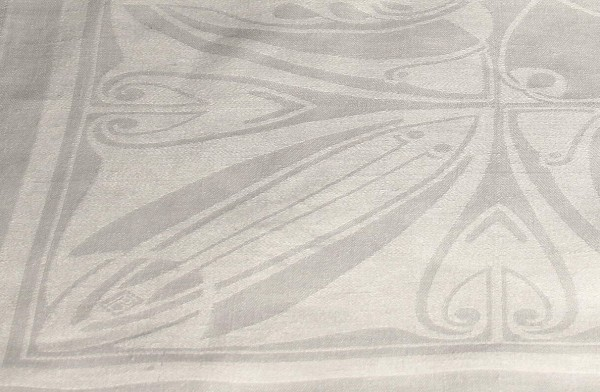 Leinendamast Tafeltuch 148 x 340 cm - Signiert Peter Behrens um 1901