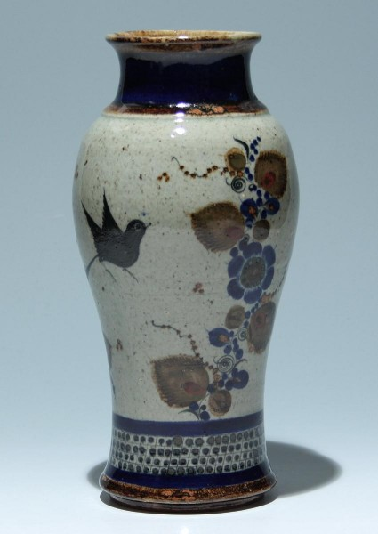 Modern Asian Pottery Vase - Birds and Flowers