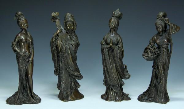 Die vier Schönheiten des alten China - Bronzefiguren 2. H. 20. Jh.
