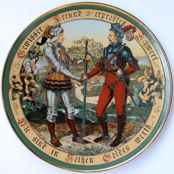 Villeroy & Boch Mettlach Wandteller 2287 signiert Quidenus - circa 1900