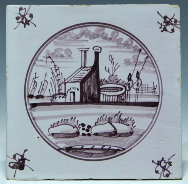 Holland Fliese Tegel Dutch Tile 18. Jh. 13 x 13 cm