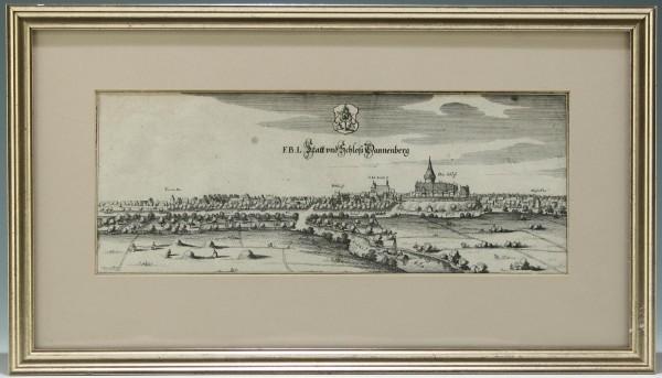 Originaler Kupferstich Stadt und Schloß Dannenberg, Merian 1654