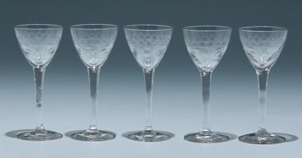 5 geätzte Likörgläser Frankreich circa 1900 - Serie 1