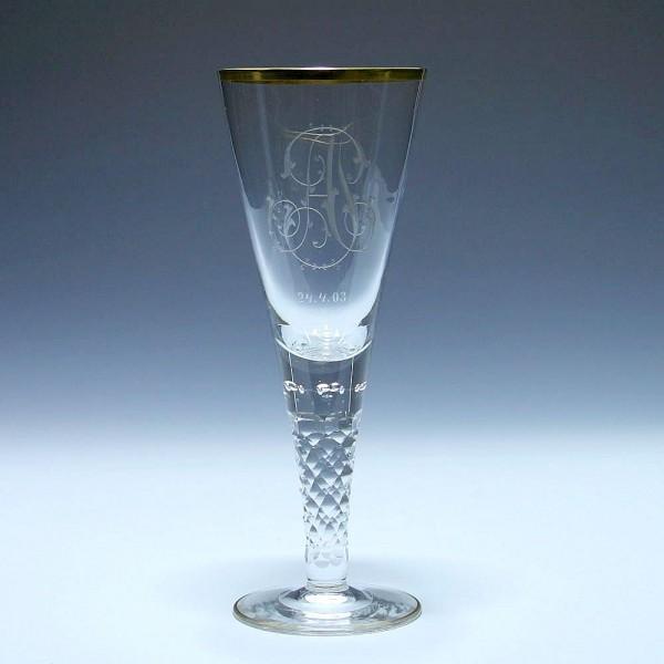 Josephinenhütte Pokal mit 9 Luftblasen + Monogramm AJ datiert 24.4.03 - 28 cm