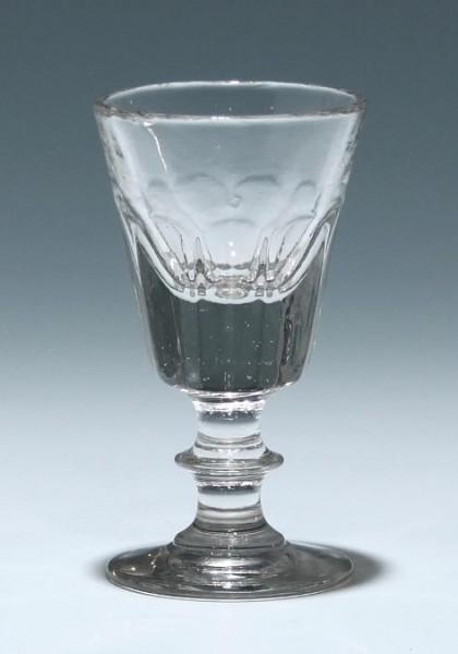Mundgeblasenes Kelchglas mit Pseudoschliff - 19. Jh.