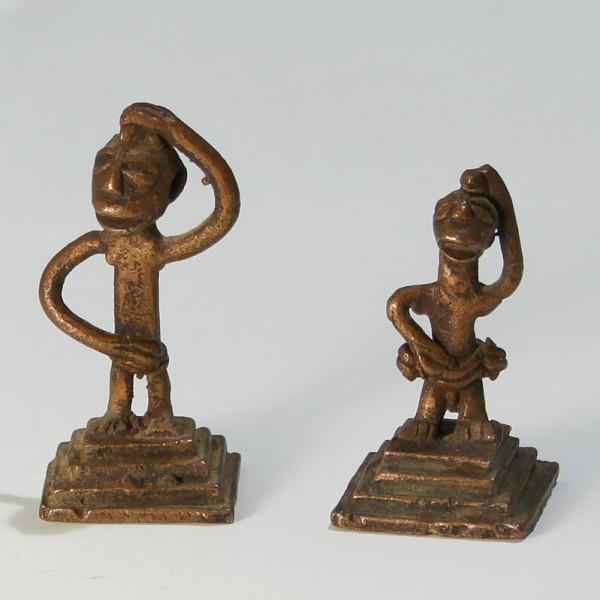 2 Gelbguss Ashanti Figuren - Elfenbeinküste / Ghana