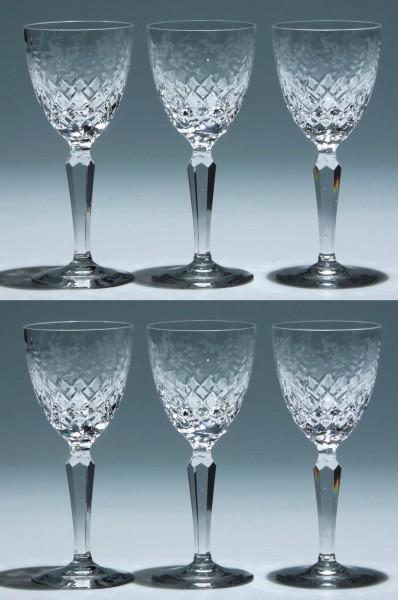 6 Bleikristall Sherrygläser mit Blumenschnitt Ende 20. Jh.