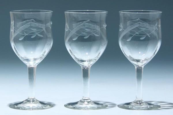3 Art Deco Weingläser mit Schliff - 1930-50er Jahre