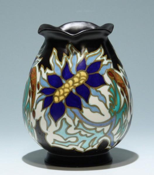 Große Art Deco Keramik Vase GOUDA Holland
